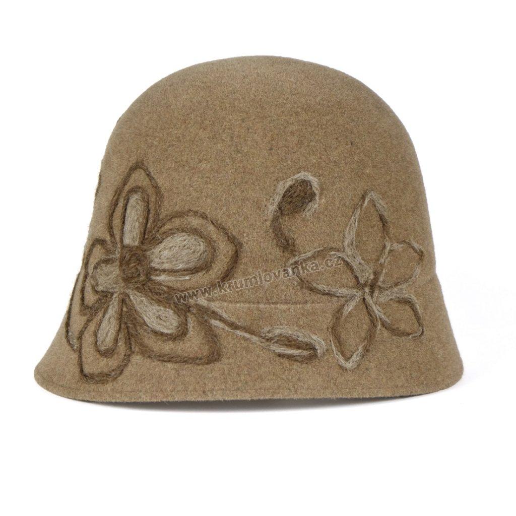 Plstěný kloboukTONAK 52658 14 oříškový s výšivkou 01
