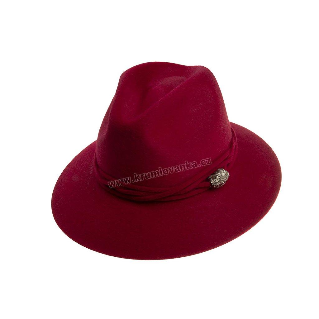 Plstěný klobouk TONAK Fedora Essence Twist 53534/18 vínový Q 1266