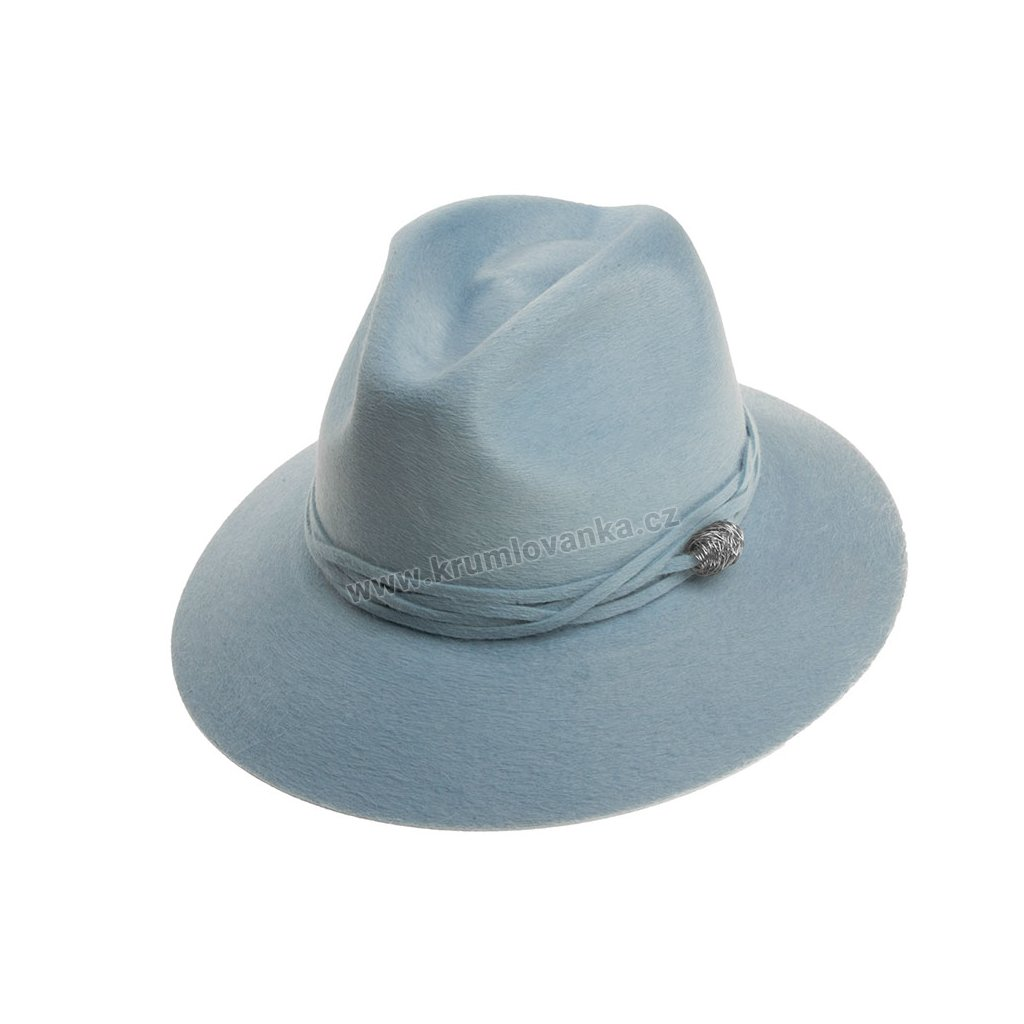 Plstěný klobouk TONAK Fedora Essence Twist 53534/18 modrý Q 3014