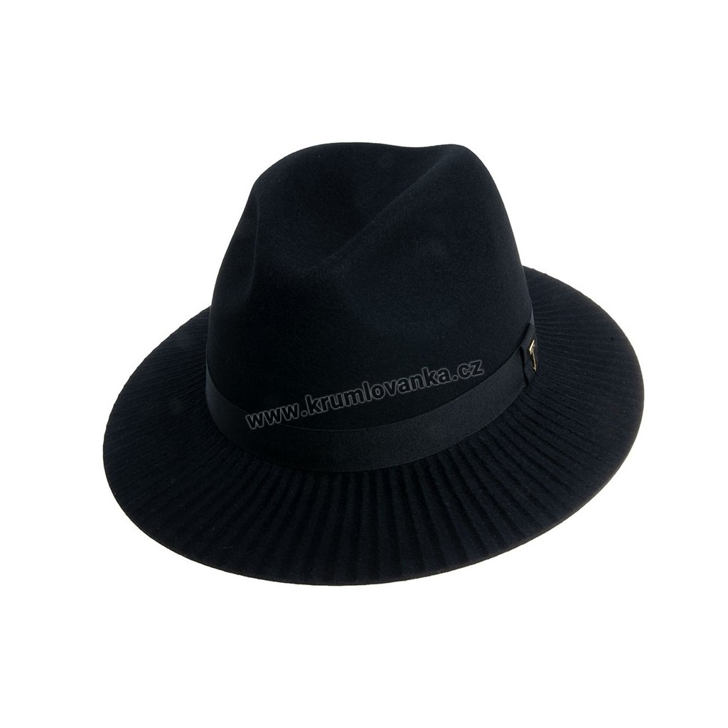 Plstěný klobouk TONAK Fedora Esprite Vertical 12774/18 černý Q 9040