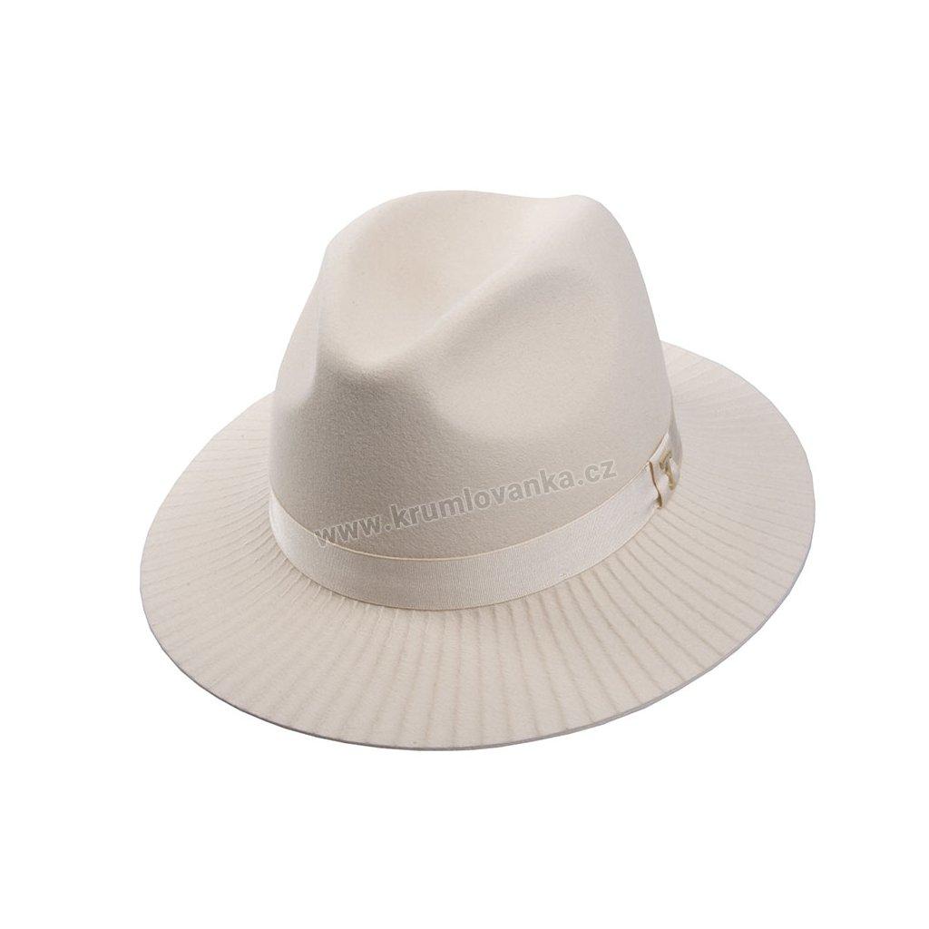 Plstěný klobouk TONAK Fedora Esprite Vertical 12774/18 béžový Q 7037