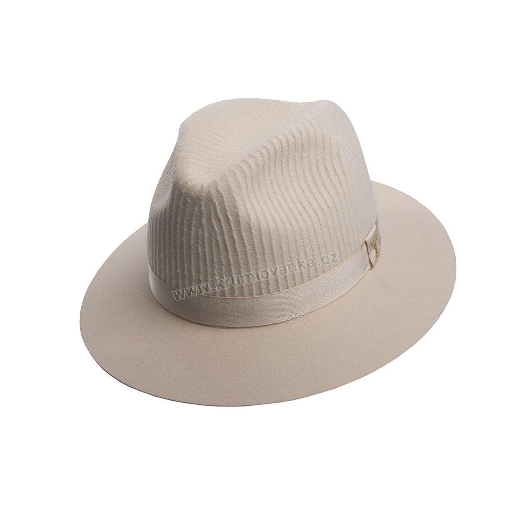 Plstěný klobouk TONAK Fedora Esprite Vertical 12774/18 béžový Q 7037 P