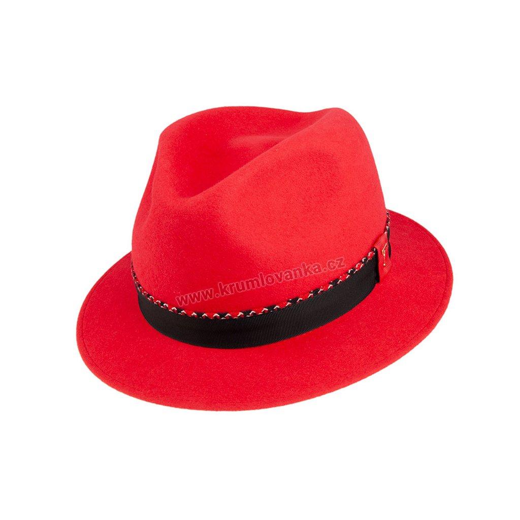 Plstěný klobouk TONAK Fedora Ella 53669/19 červený Q 1020