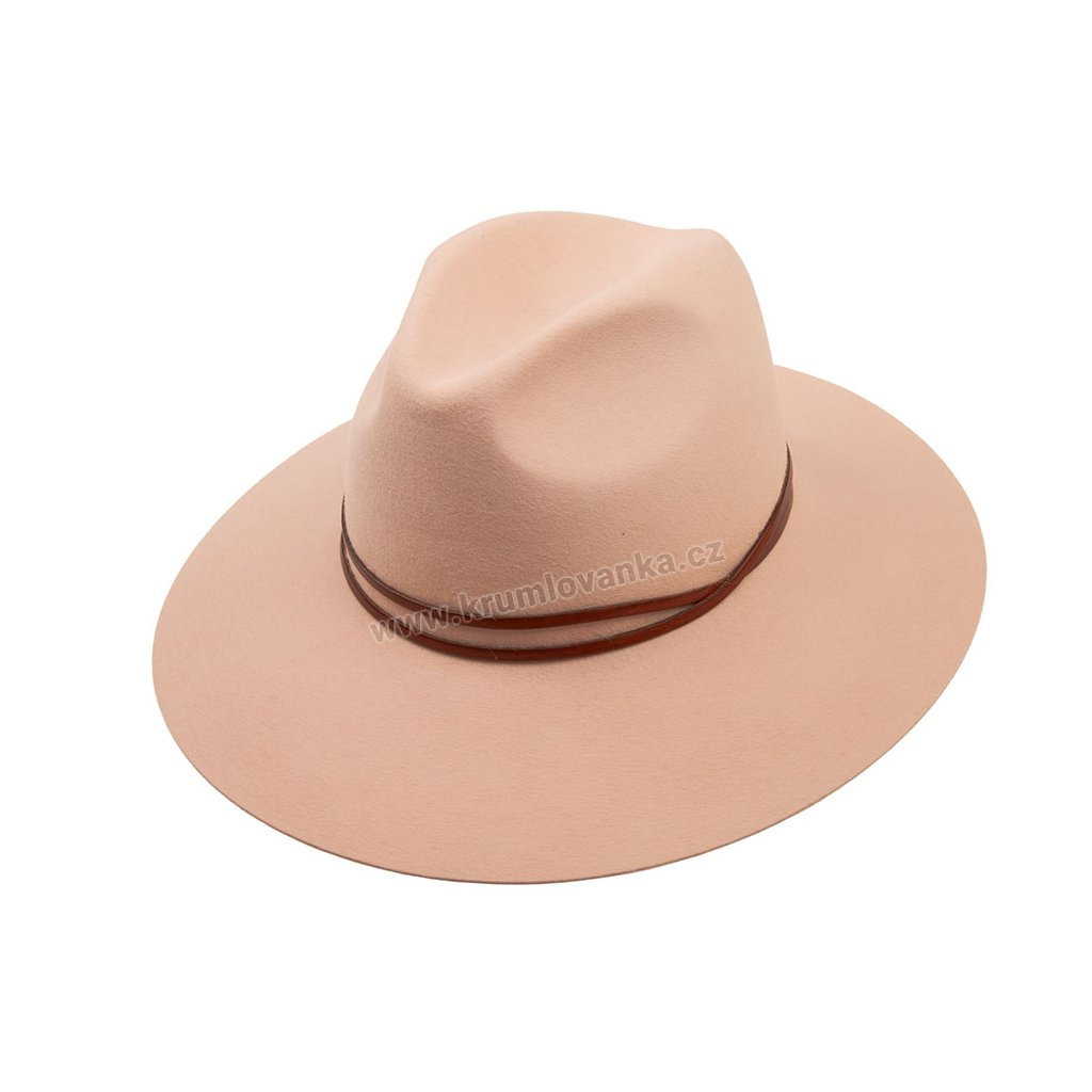 Plstěný klobouk TONAK Fedora Double Strap 53385/17  růžová Q 2189
