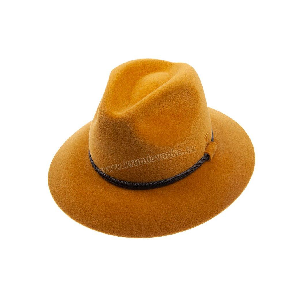 Plstěný klobouk TONAK Fedora Stretti Eko 21144/17  žlutý Q 5003