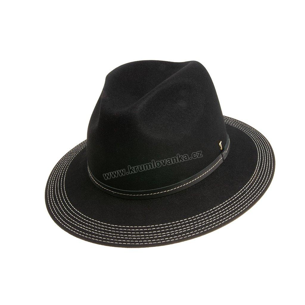 Plstěný klobouk TONAK Fedora Esprite Noir 21156/18 černá Q 9040
