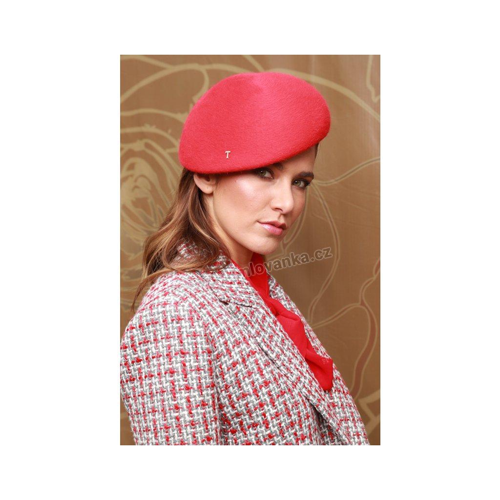 Plstěný klobouk TONAK Beret Dessi 53666/19 červený Q 1020