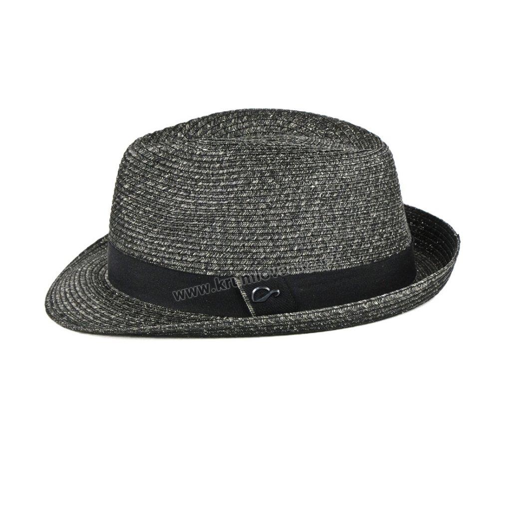 Slaměný letní klobouk s textilním páskem HA antracitový2