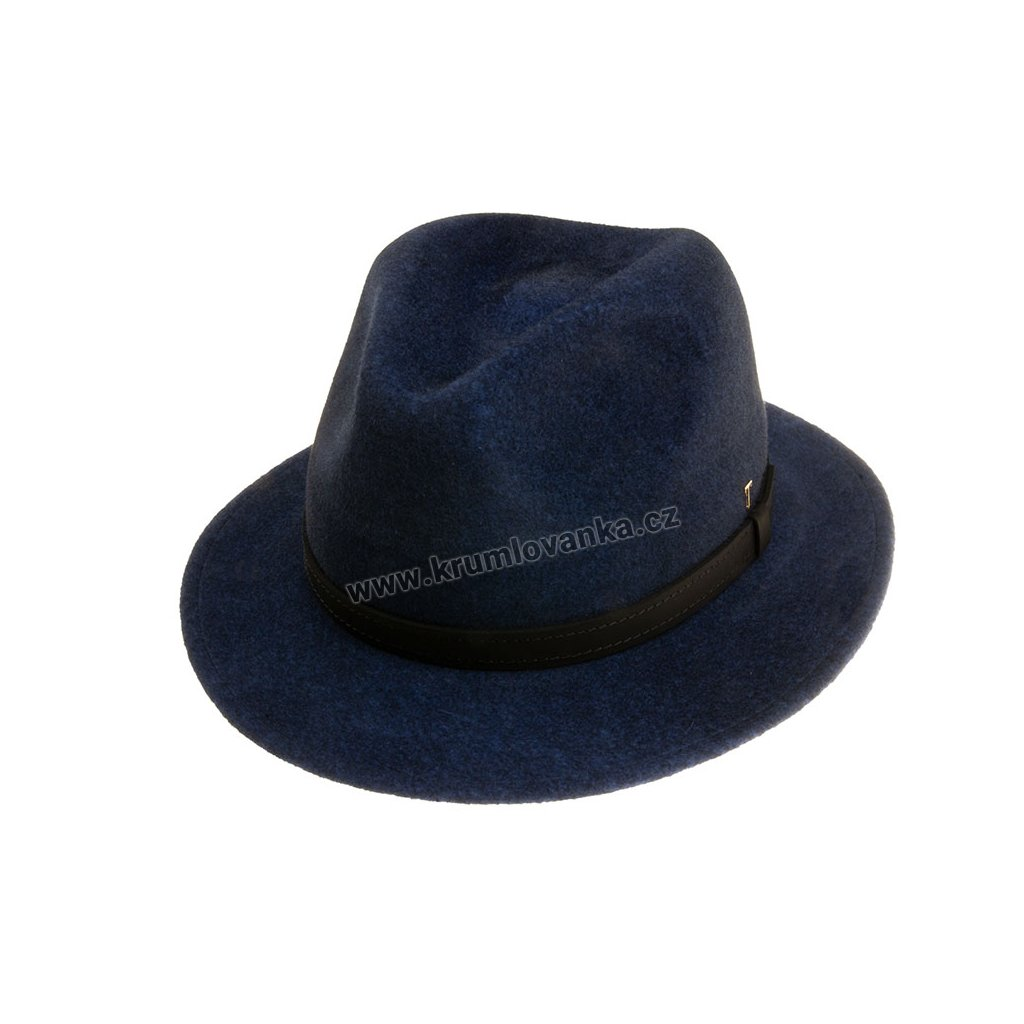 Plstěný klobouk TONAK Fedora Essence Elektra 53512/18 modrý Q 3104