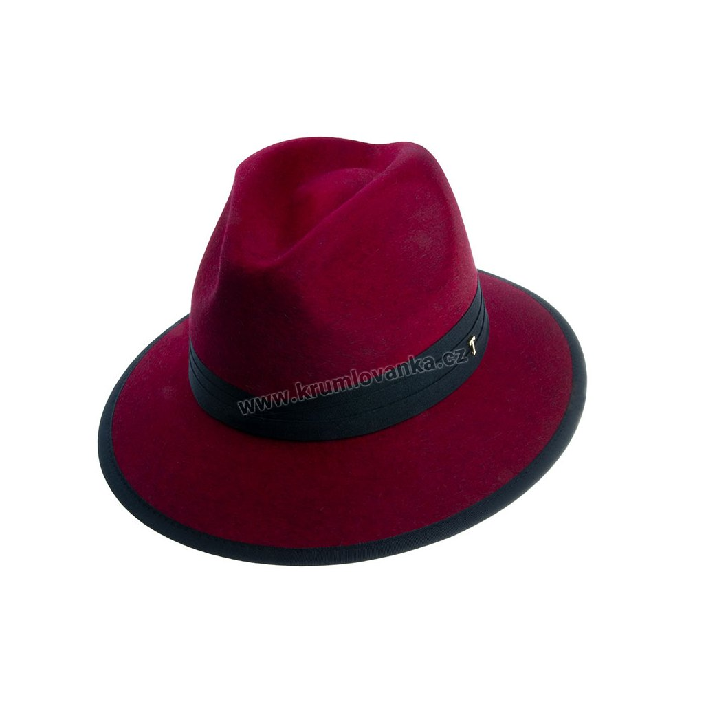 Plstěný klobouk TONAK Fedora Essence Sky 53532/18 tmavě červený Q 1266