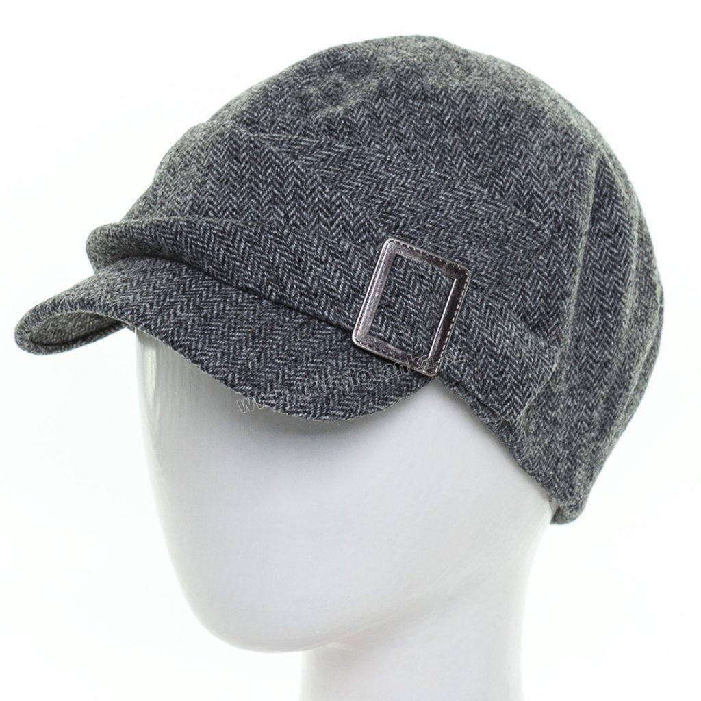 Dámská vlněná čepice s kšiltem Krumlovanka 425672 tmavě šedá