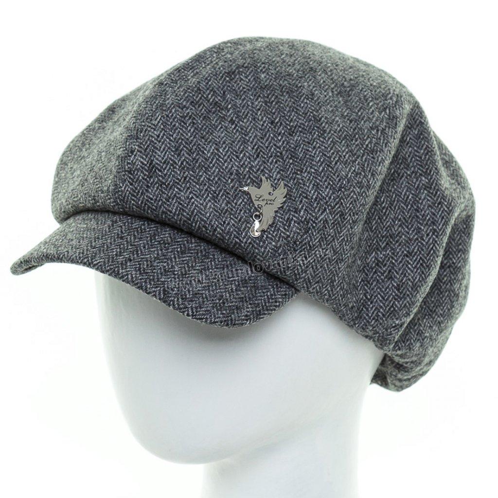Dámská vlněná čepice s kšiltem Krumlovanka 425945 tmavě šedá