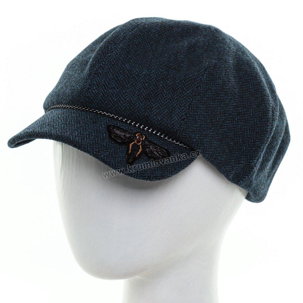 Dámská vlněná čepice s kšiltem Krumlovanka 425728 modrá1