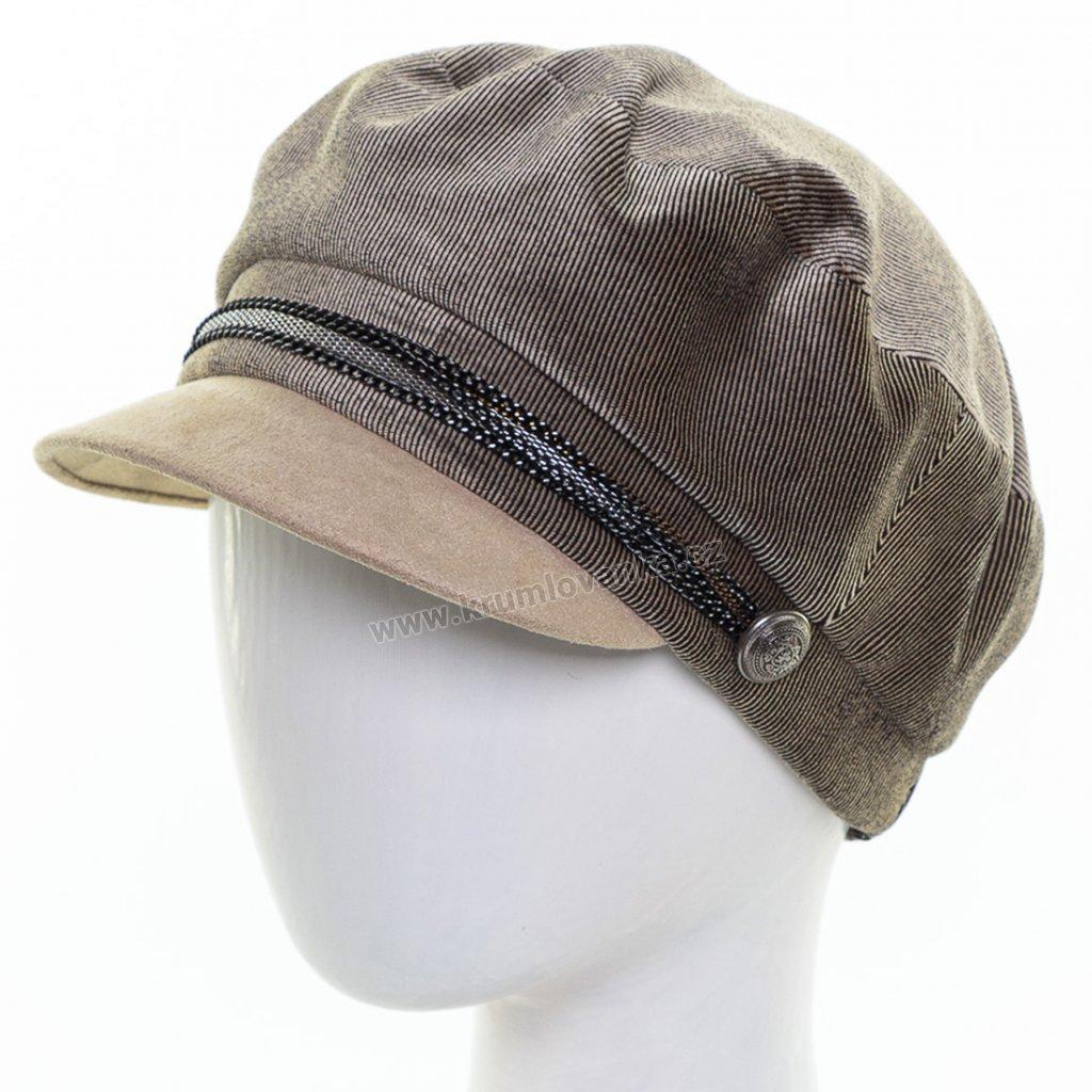 Dámská velurová čepice s kšiltem Krumlovanka 425242 béžová