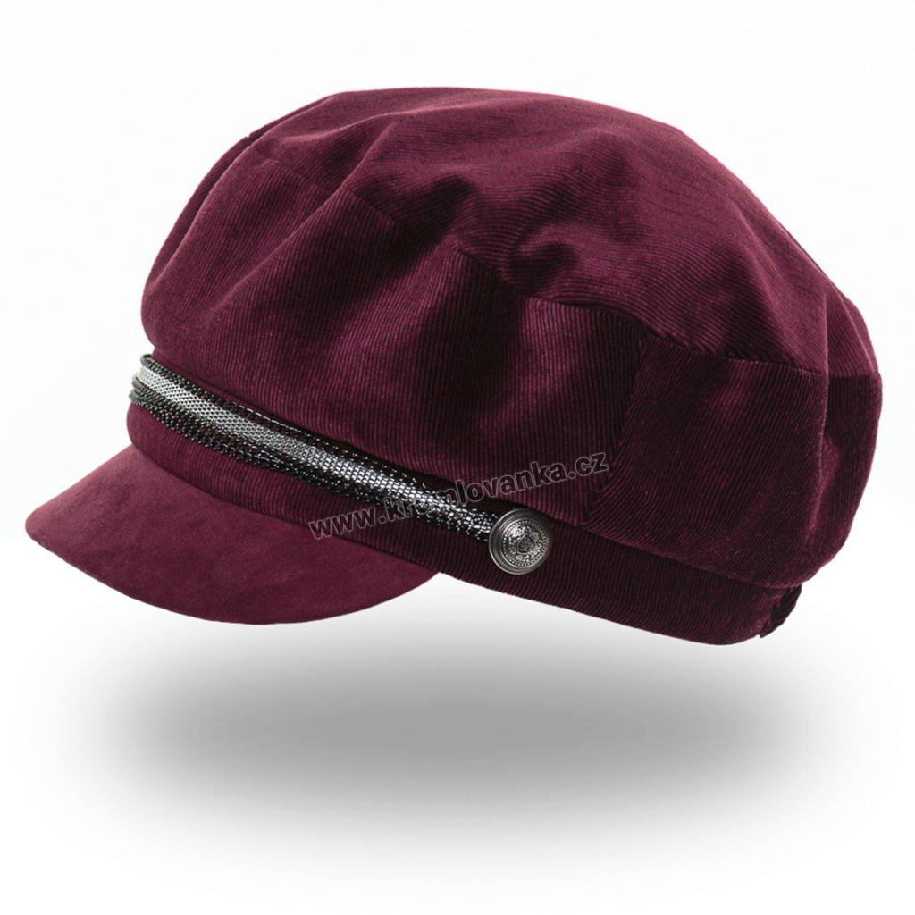 Dámská velurová čepice s kšiltem Krumlovanka 425244 vínová