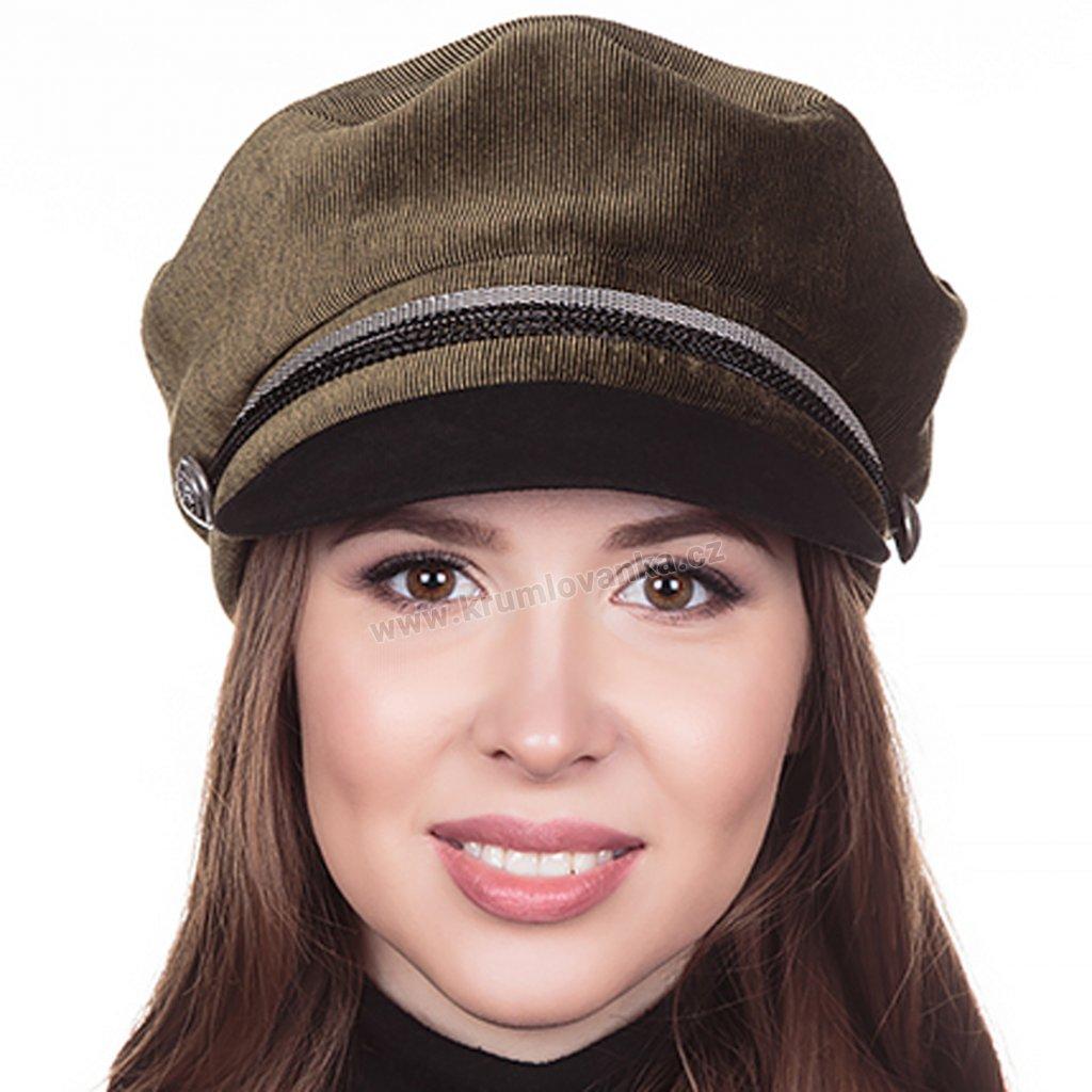 Dámská velurová čepice s kšiltem Krumlovanka 427040 zelená