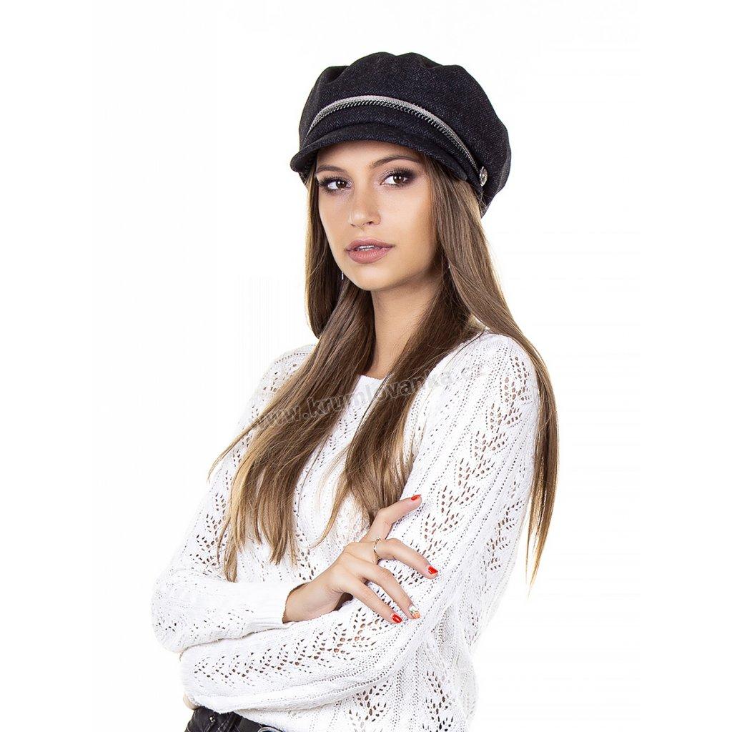 Dámská vlněná čepice s kšiltem Krumlovanka 425707 antracit