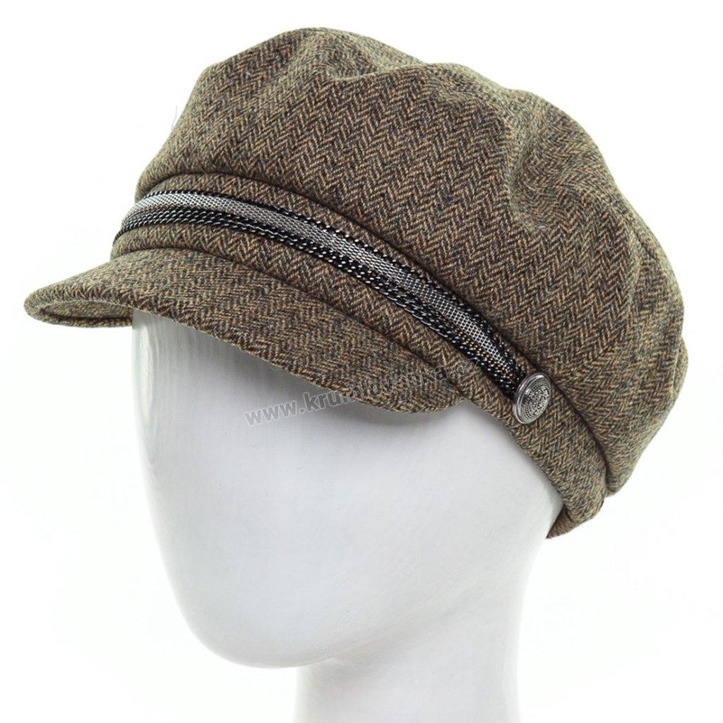 Dámská vlněná čepice s kšiltem Krumlovan 434215  hořčičná