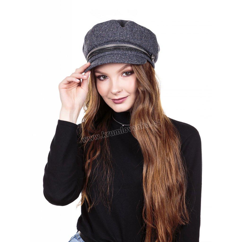 Dámská vlněná čepice s kšiltem Krumlovanka  425709 modrá
