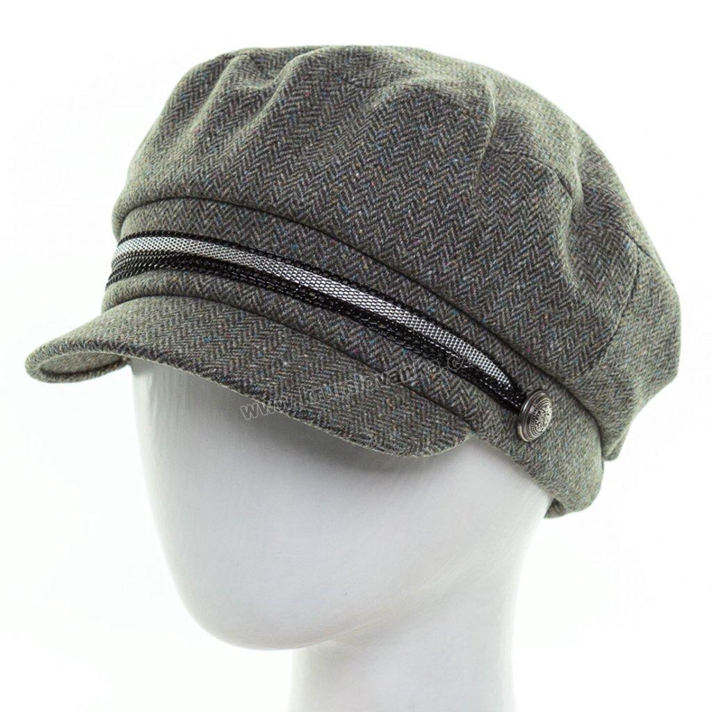 Dámská vlněná čepice s kšiltem Krumlovanka  425711 khaki