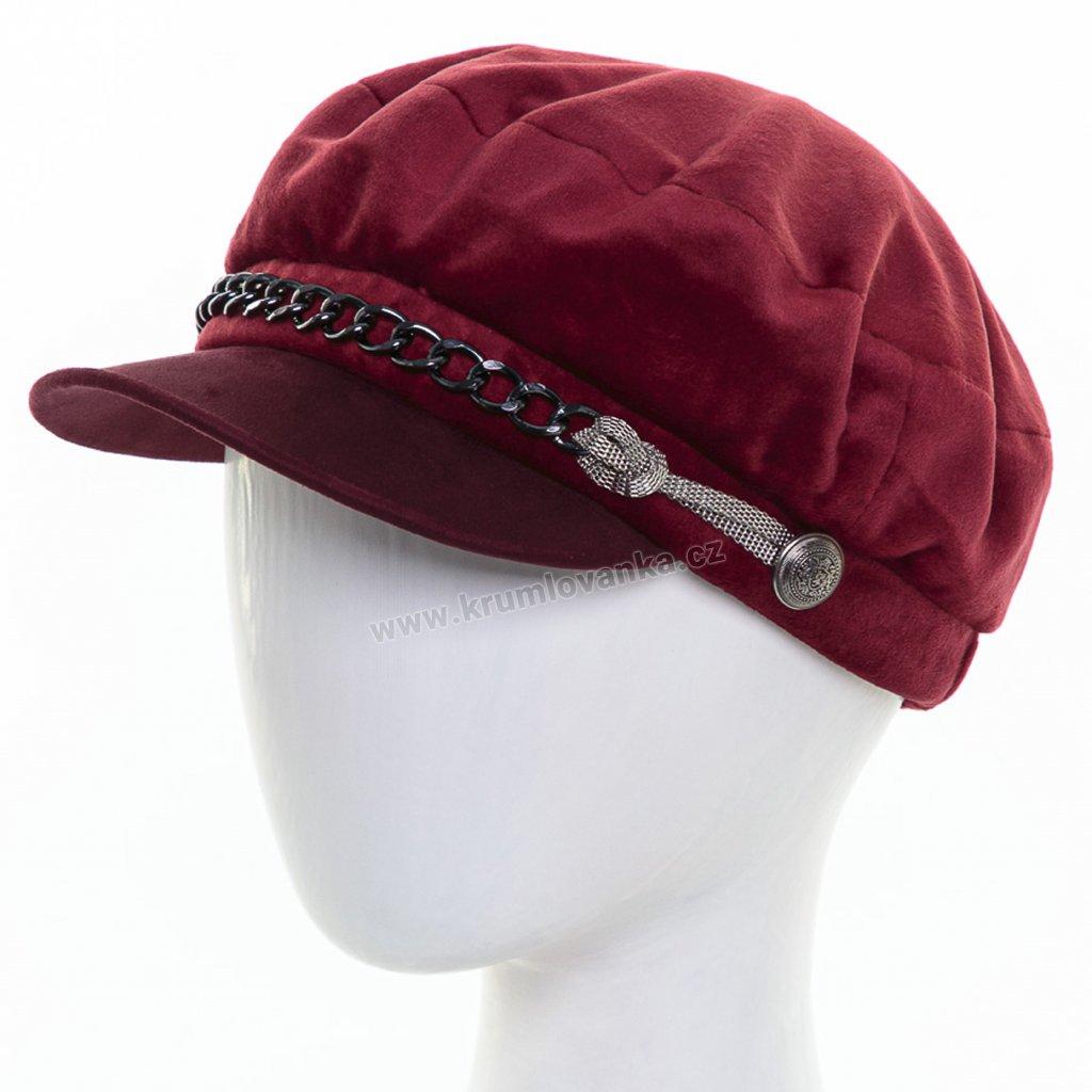 Dámská velurová čepice s kšiltem Krumlovanka 431495 vínová