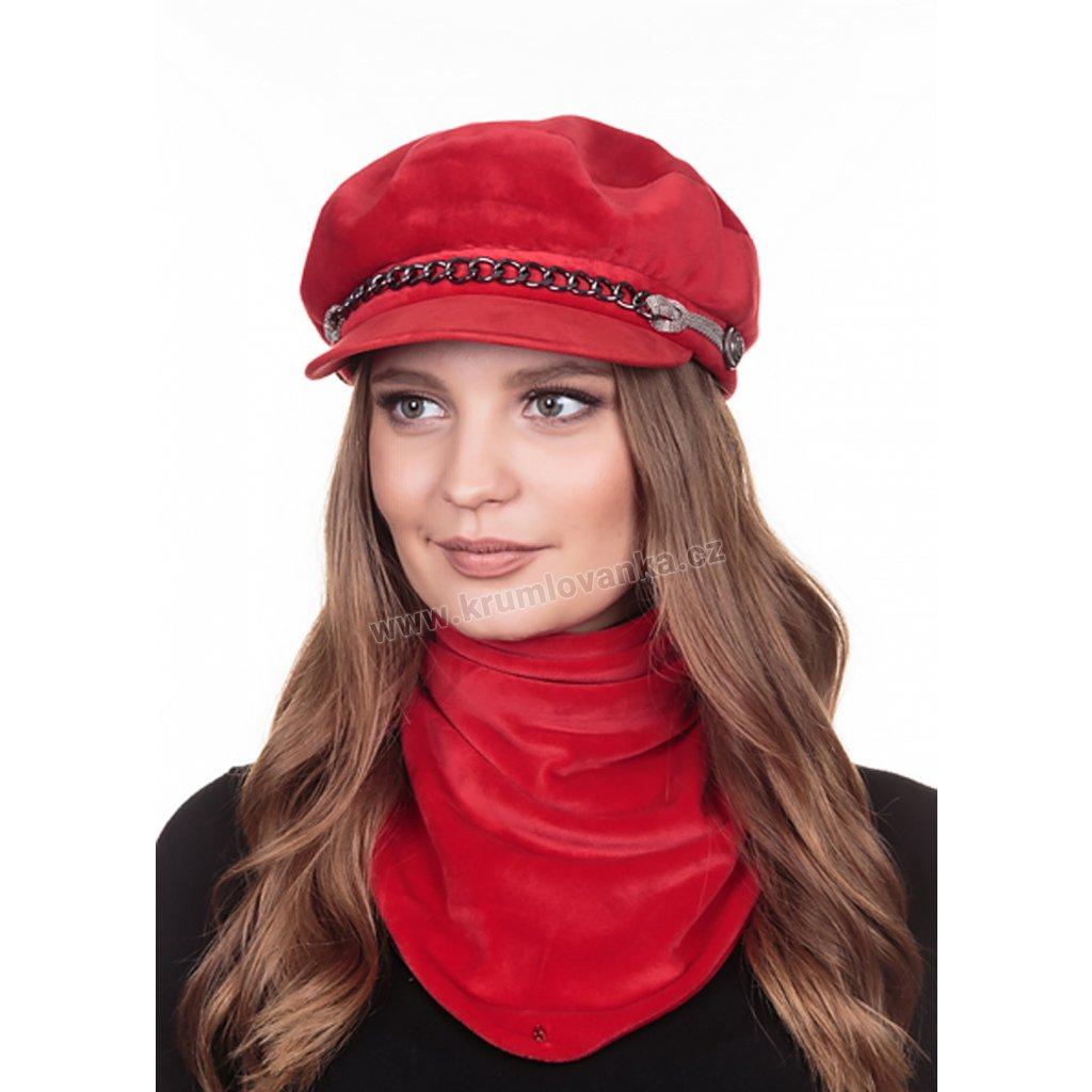 Dámská velurová čepice s kšiltem Krumlovanka 431496 červená