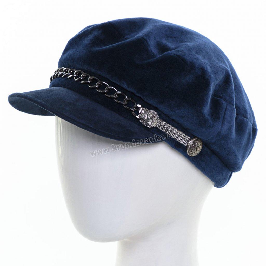 Dámská velurová čepice s kšiltem Krumlovanka  431500 modrá