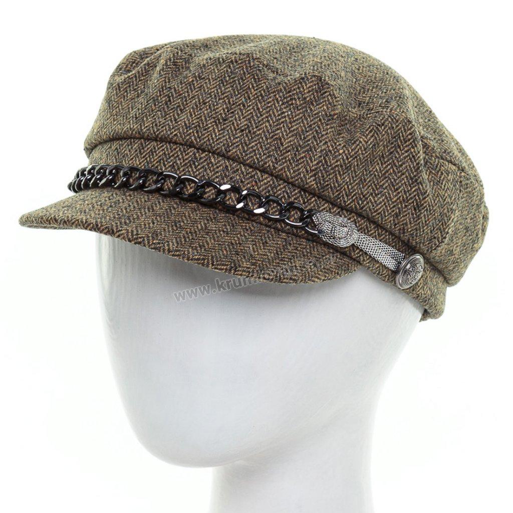 Dámská vlněná čepice s kšiltem Krumlovanka 434223
