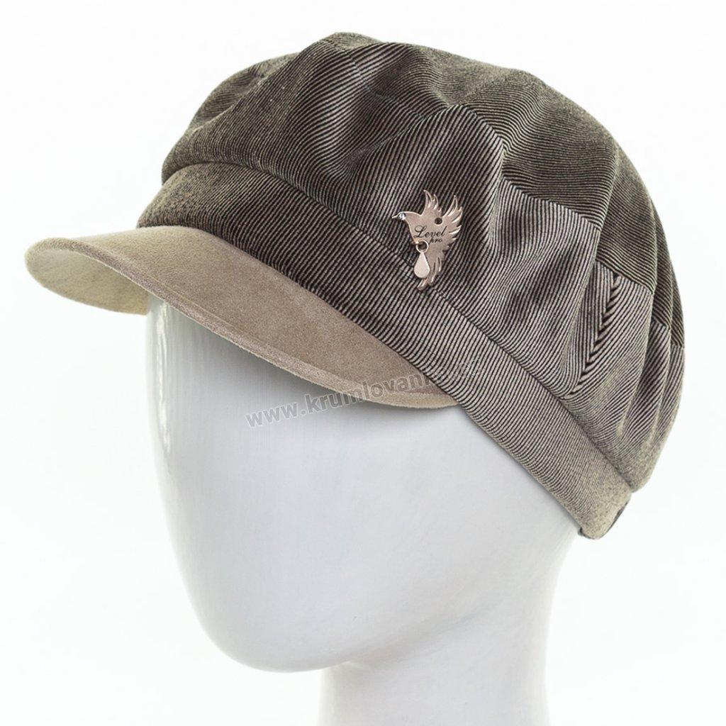 Dámská velurová čepice s kšiltem Krumlovanka 425234 béžová