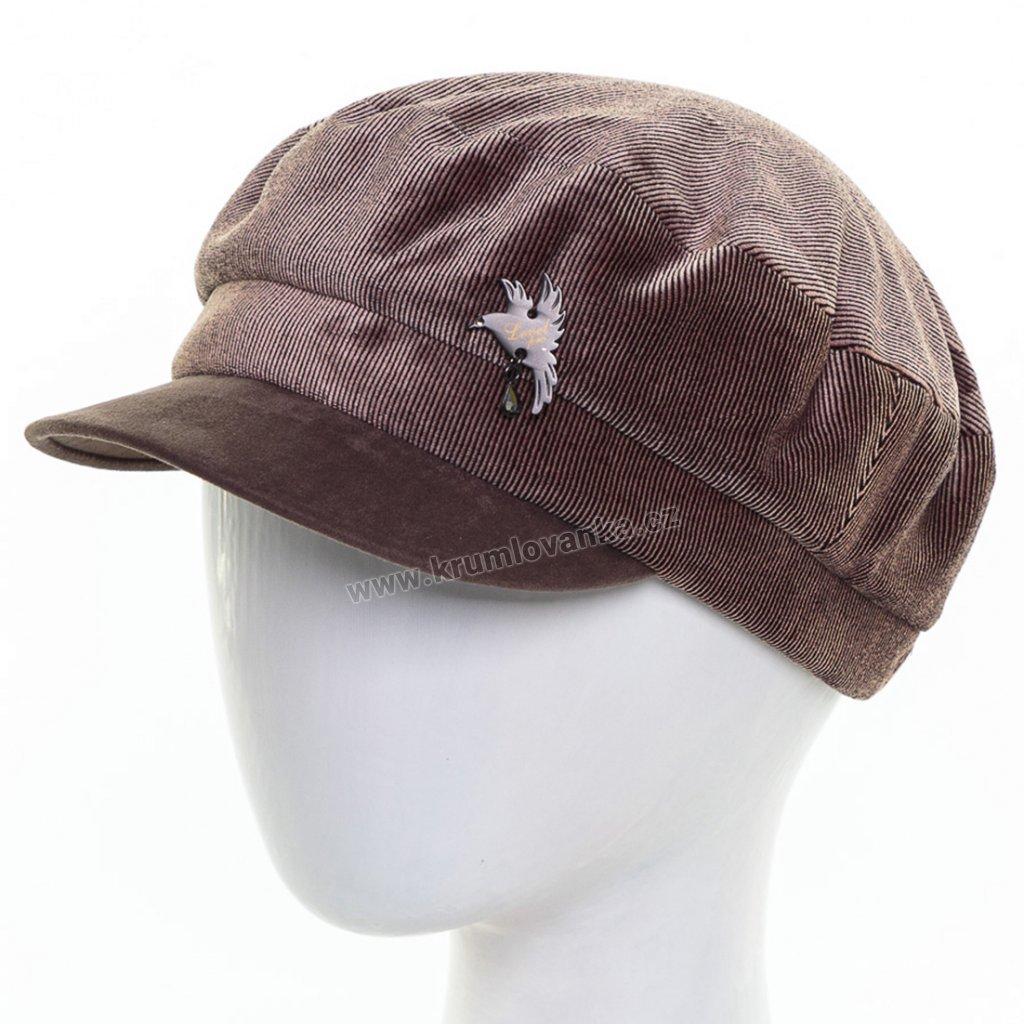 Dámská velurová čepice s kšiltem Krumlovanka 425233 cola