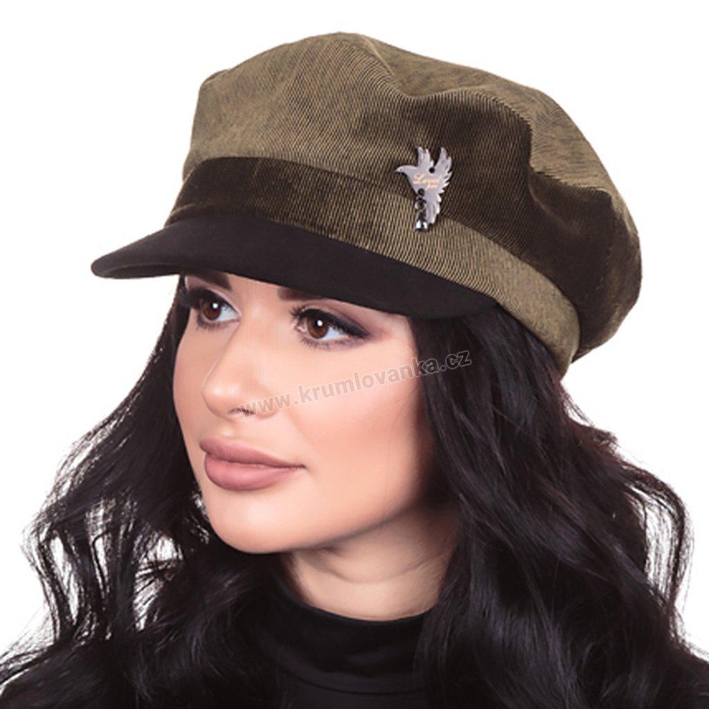 Dámská velurová čepice s kšiltem Krumlovanka 427041 zelená