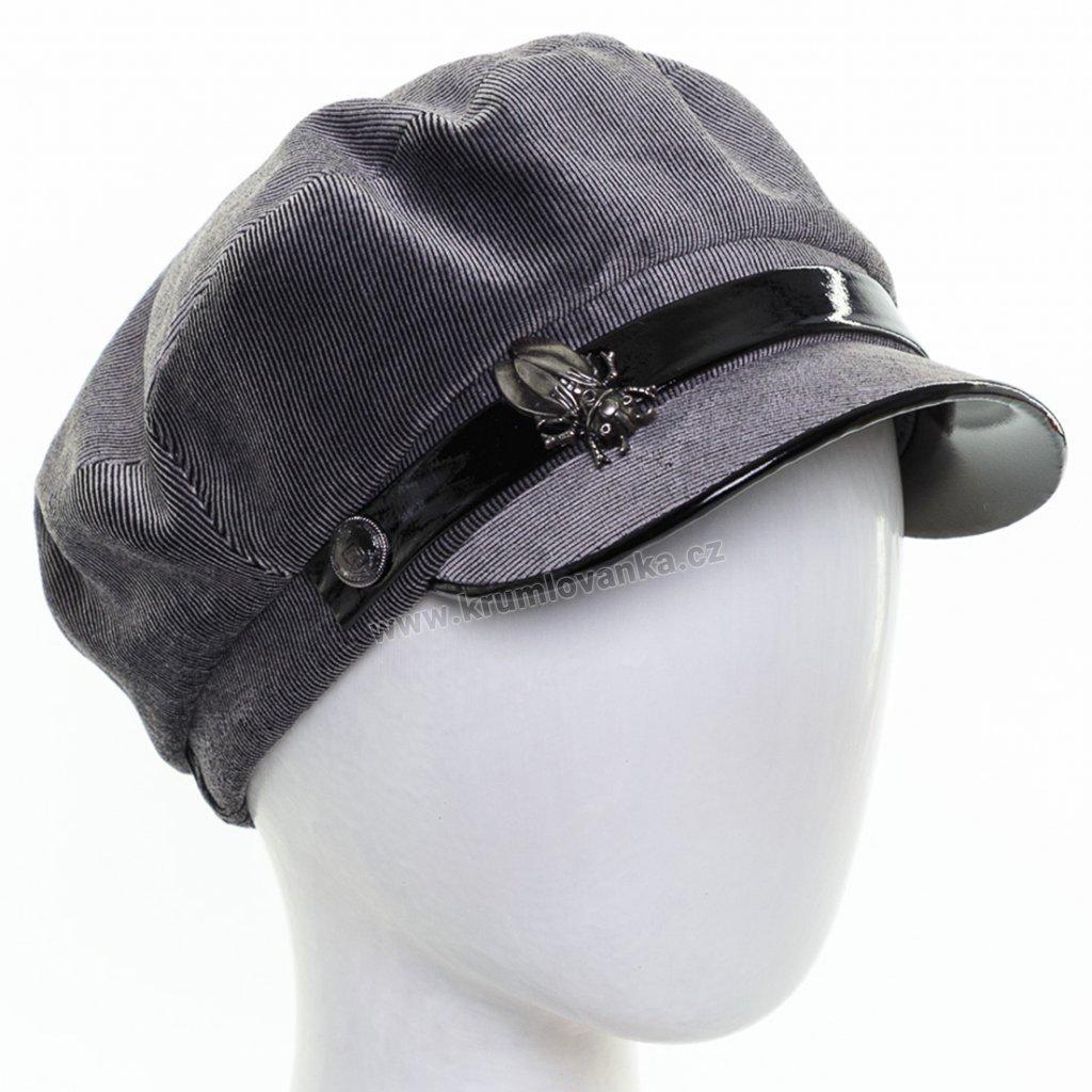 Dámská velurová čepice s kšiltem Krumlovanka 434045 šedá