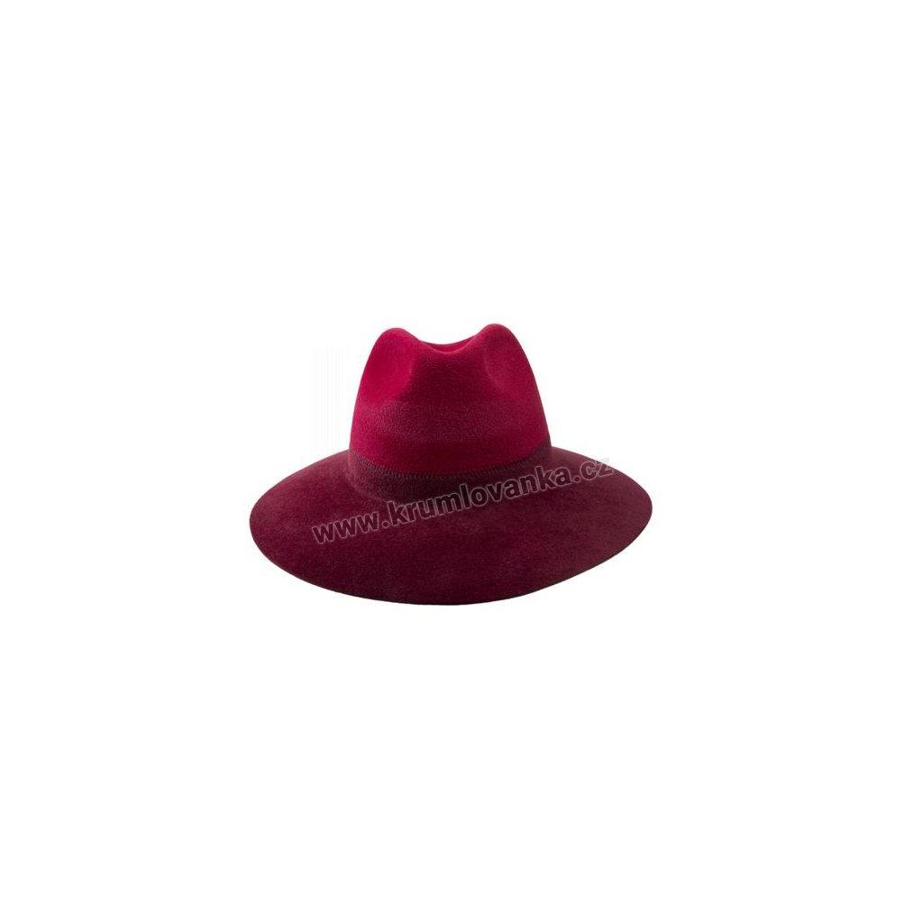 Plstěný klobouk TONAK Fedora Duo  52645/14 bordový Q 1114