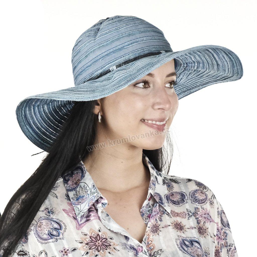 Letní dámský klobouk Big Brim 67491 modrý