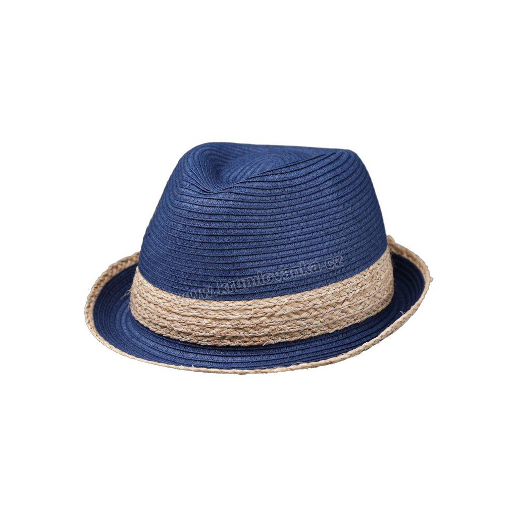 Letní klobouk Trilby s rafiovým páskem 69797 modrý