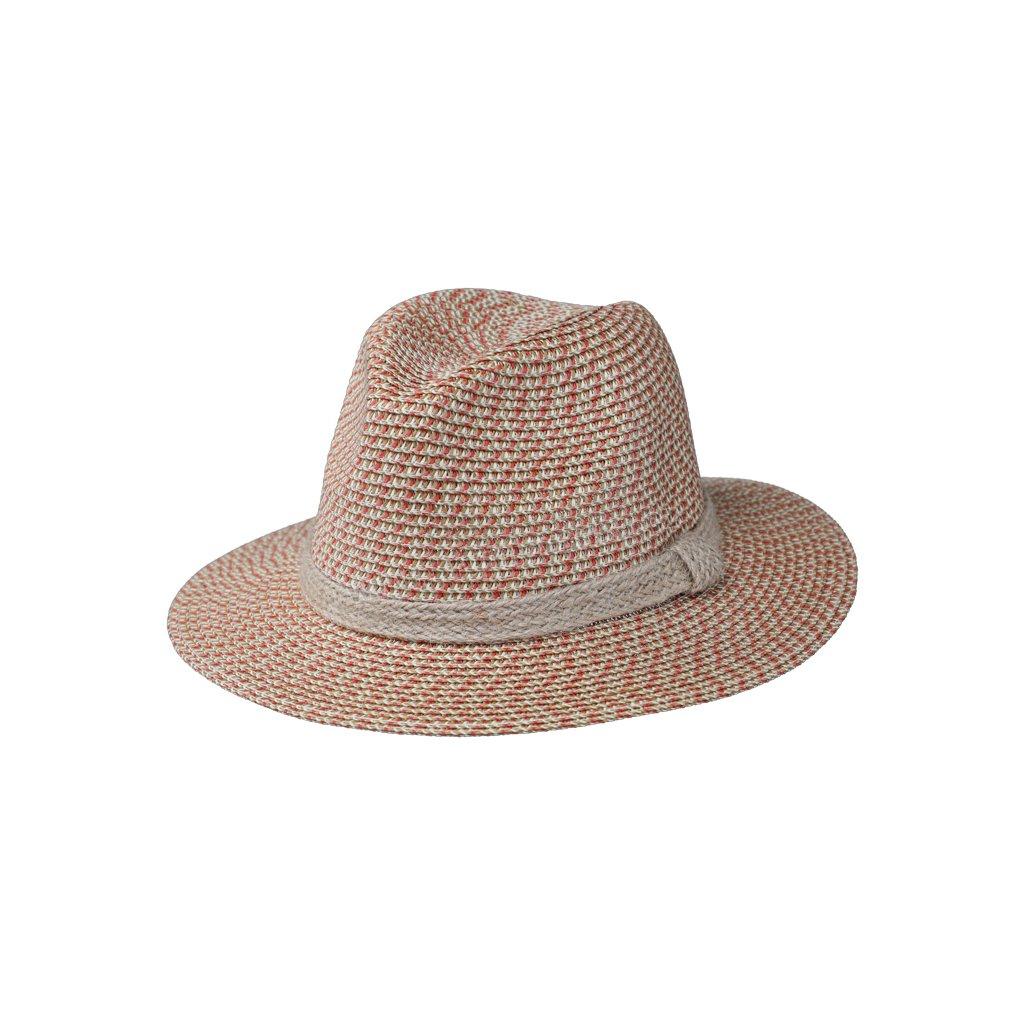 Letní klobouk Fedora s jutovým páskem 69851 červený