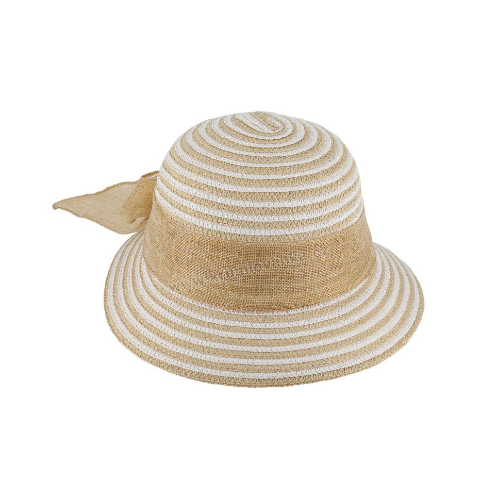 Letní dámský klobouk s proužky 69894 béžový