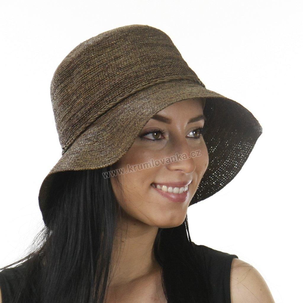 Letní klobouk Bucket z rafie 69862 hnědý