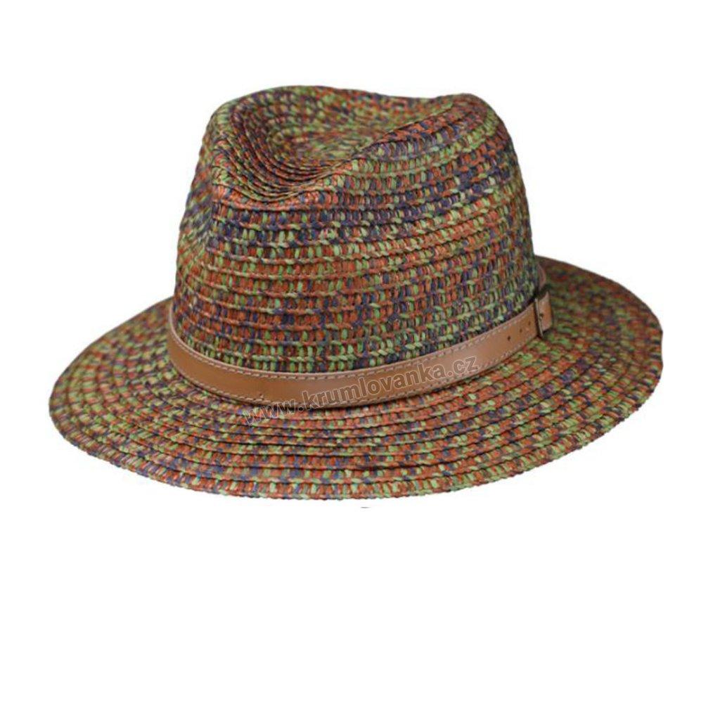 Letní klobouk Fedora klobouková celuóza 16620 hnědý