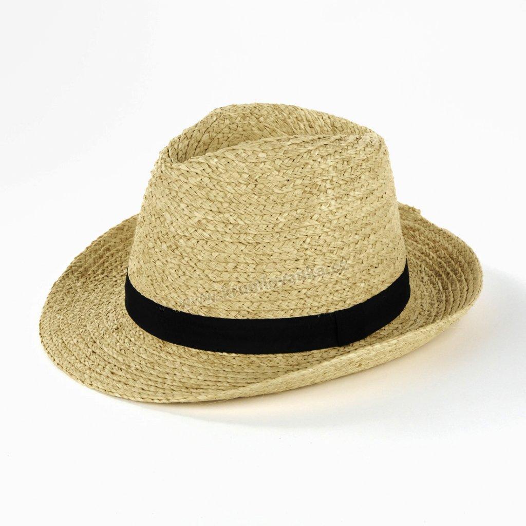 Letní klobouk Fiebig Trilby z rafie 16598 natural