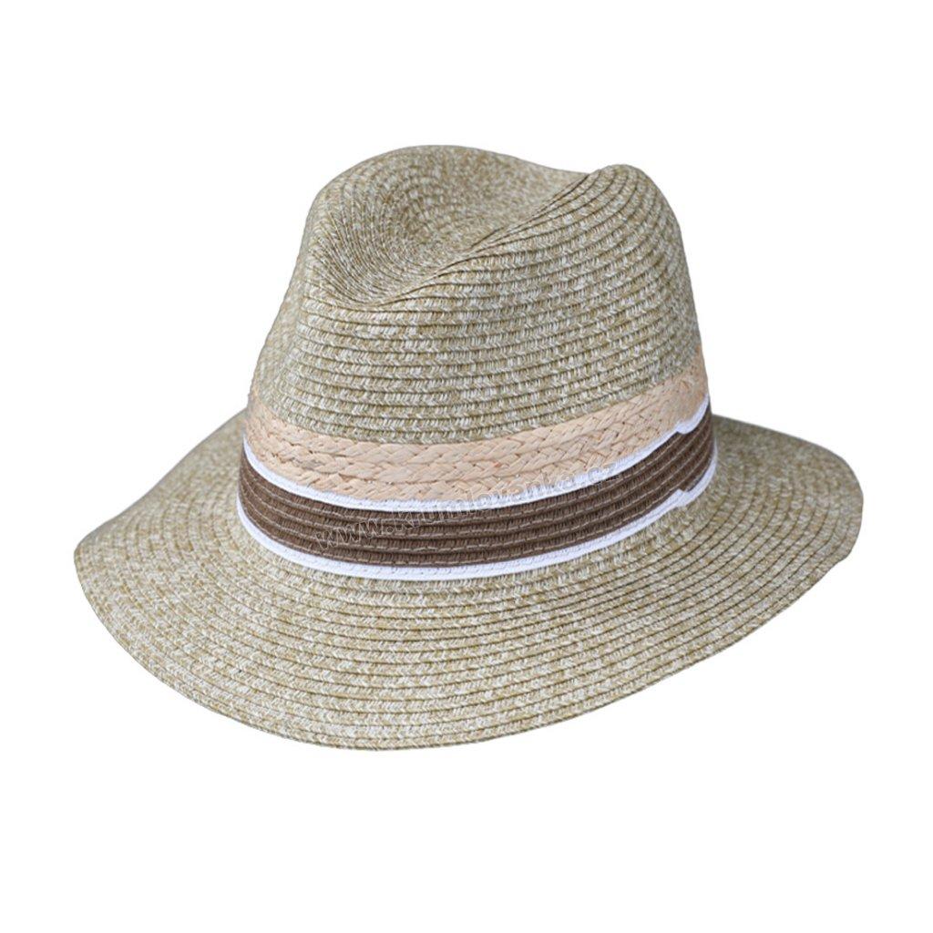 Letní klobouk Fiebig Fedora 16644 světle zelený