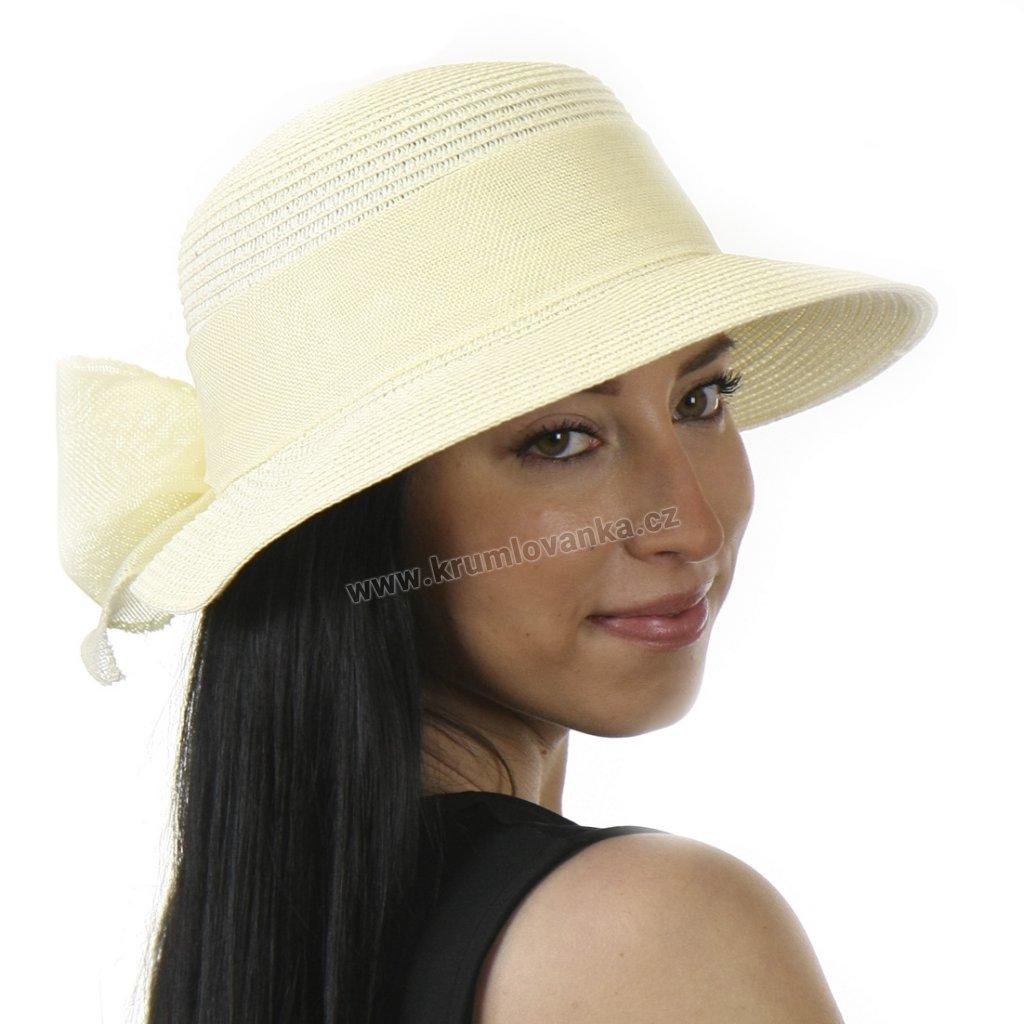 Dámský letní klobouk s kšiltem a se stuhou béžový 527 1
