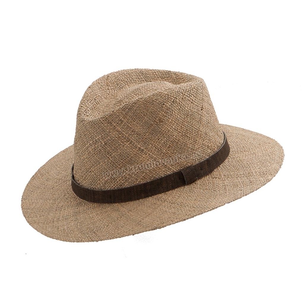 Letní klobouk Fedora z mořské trávy hustě pletený natural