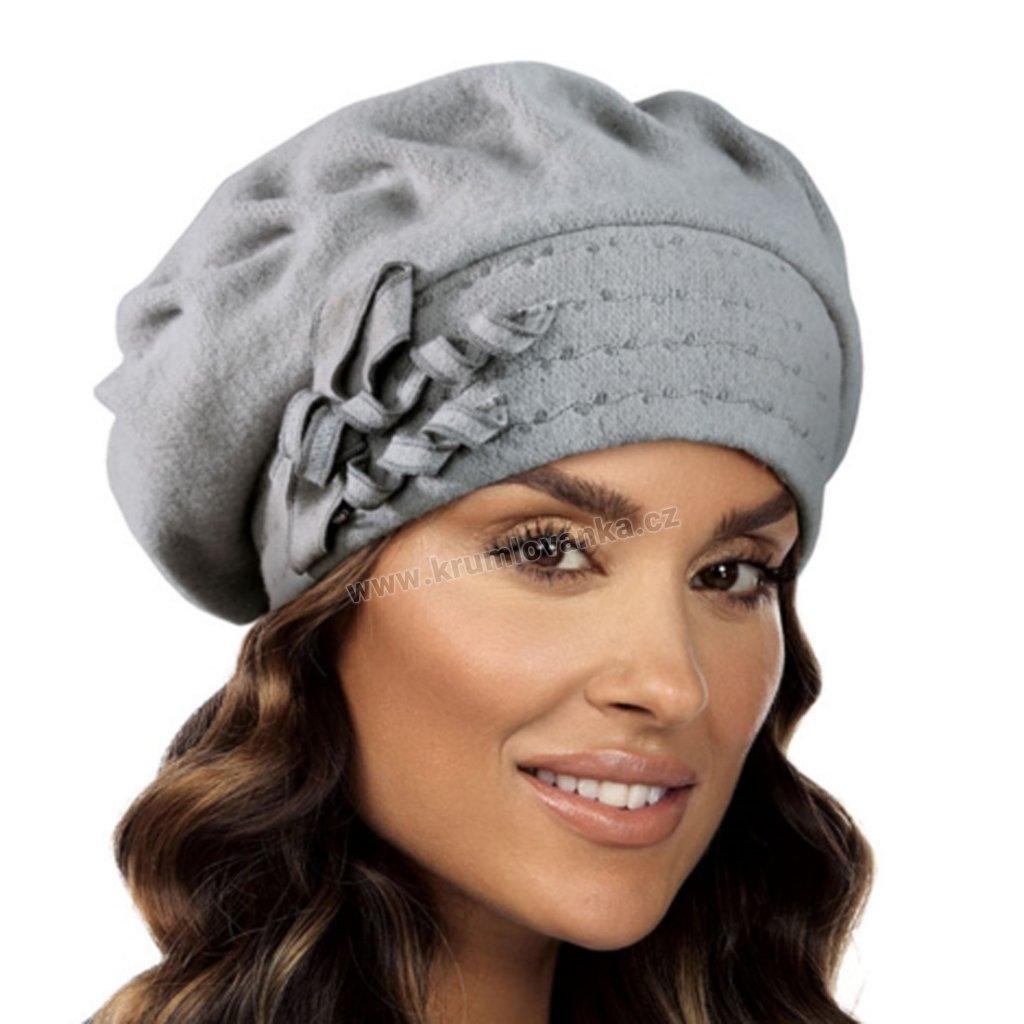 Dámský vlněný baret zdobený mašlí se spirálkou šedý