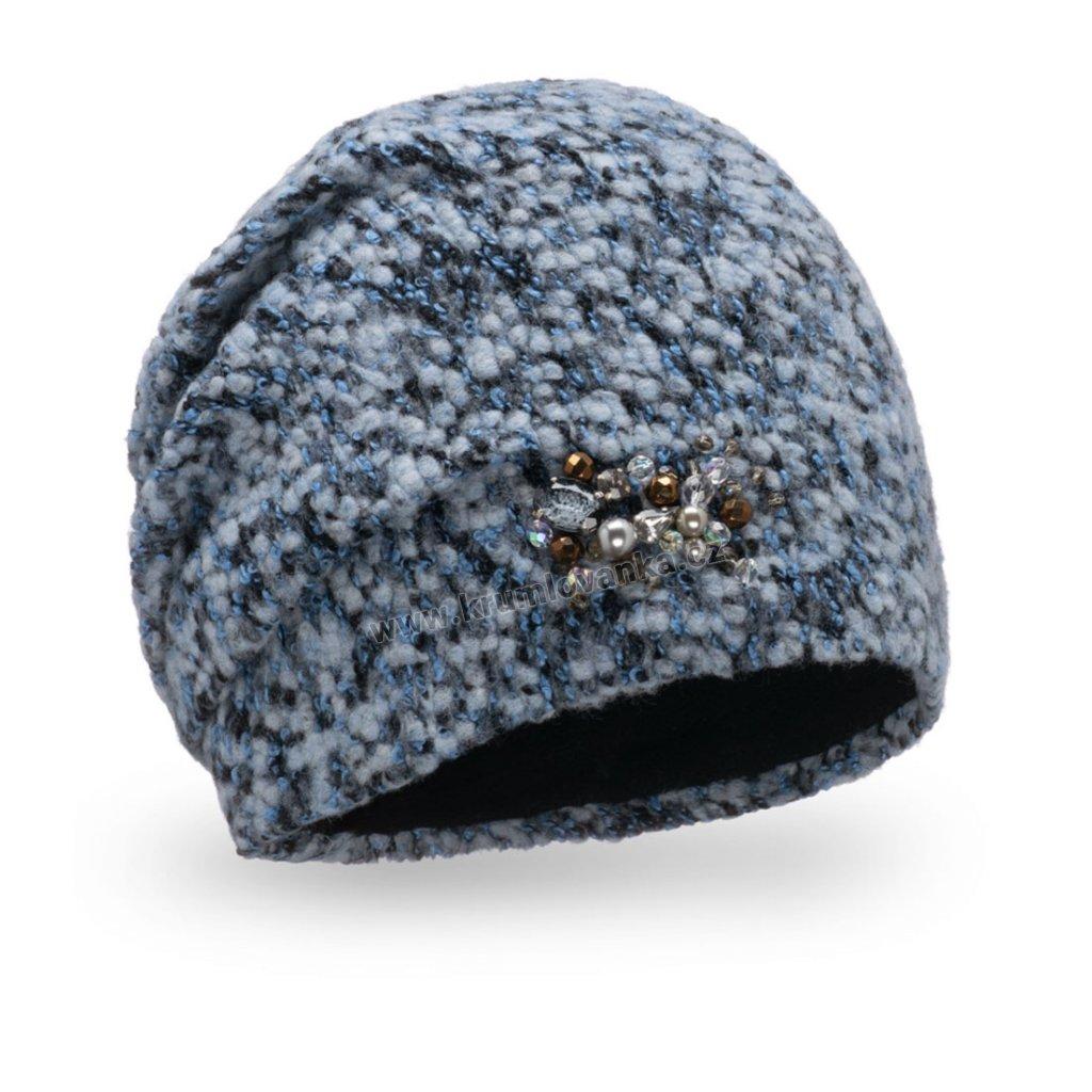 Dámská čepice Melanž buklé s bižuterií tmavě modrá