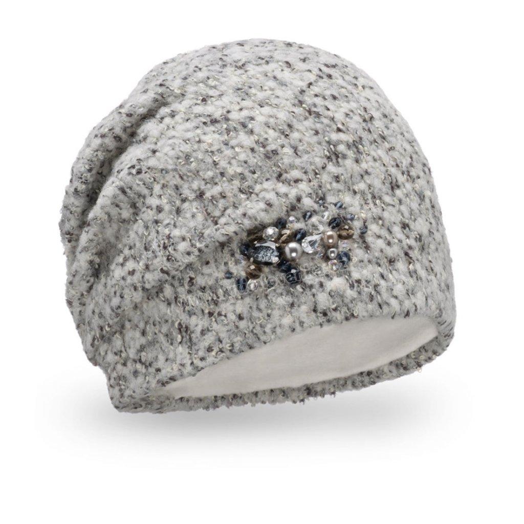 Dámská čepice Melanž buklé s bižuterií světle šedá