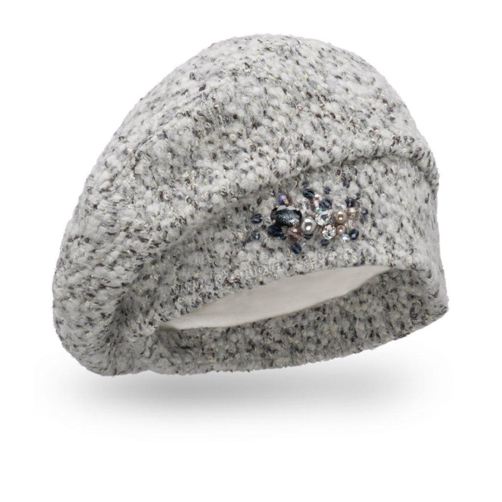 Dámská čepice s bižuterií - buklé světle šedá