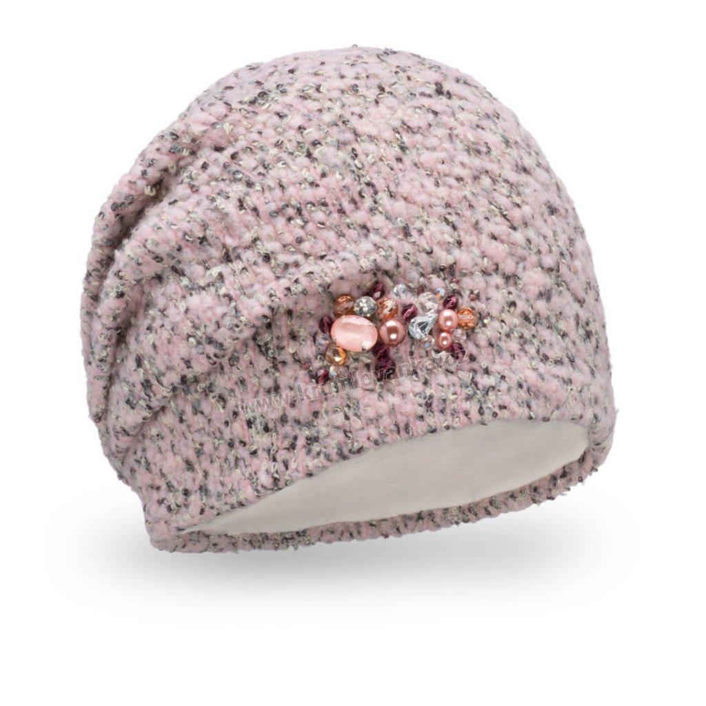 Dámská čepice Melanž buklé s bižuterií růžová