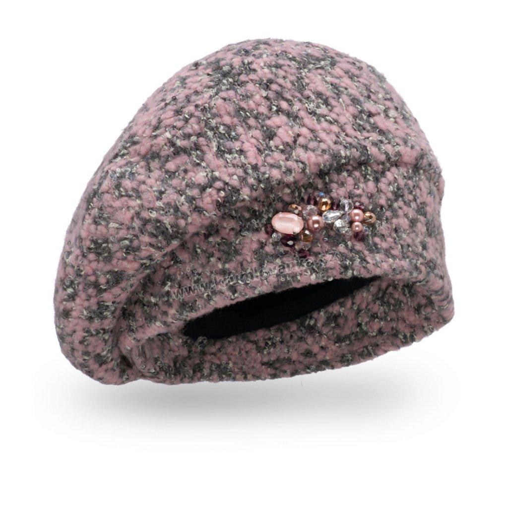 Dámská čepice s bižuterií - buklé starorůžová
