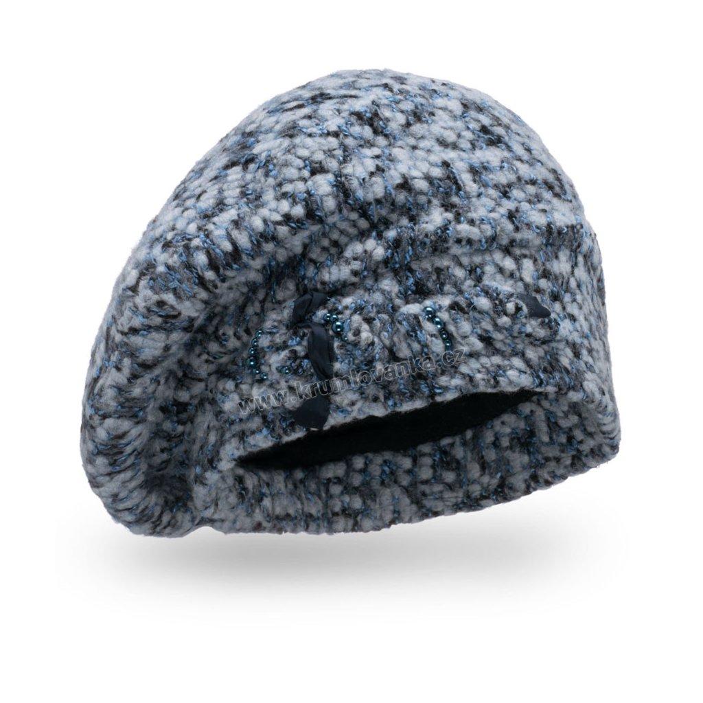 Dámský baret melanž buklé zdobená uzlíkem tmavě modrá
